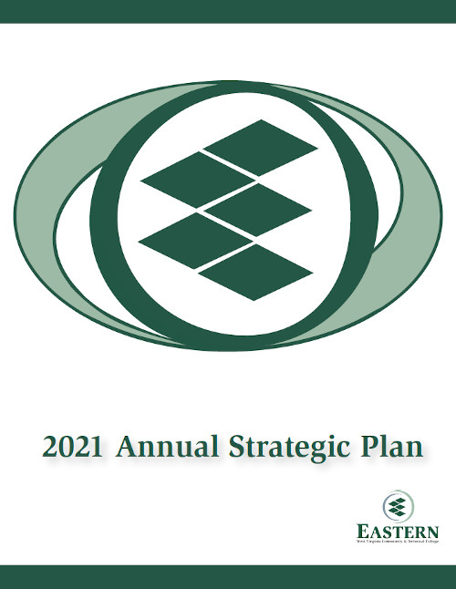 """2021 Strategic Plan Cover, image of Eastern logo in """"The Incredibles"""" movie logo style"""