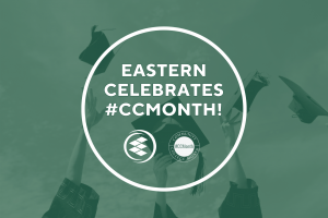 """Students Throwing Graduation Caps with Green Overlay and Text """"Eastern Celebrates #CCMonth"""""""